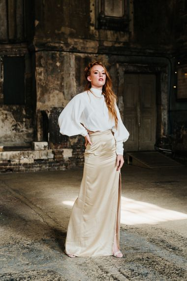 Bride in skirt and top for stylish wedding inspiration at The Asylum