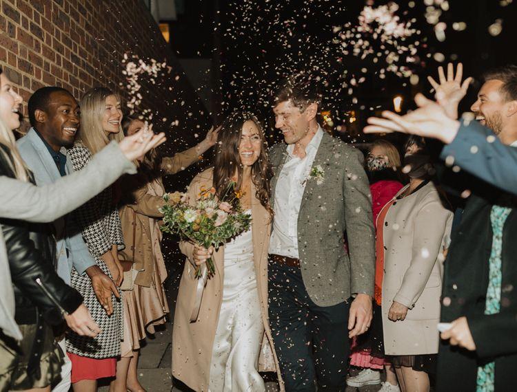 Confetti moment at pub wedding reception