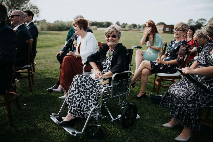 Wedding guests at socially distanced 2020 wedding