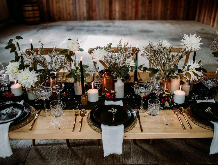冬季礼服的婚礼