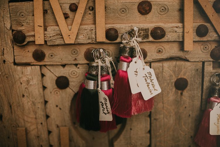 Tassel and luggage tag escort cards