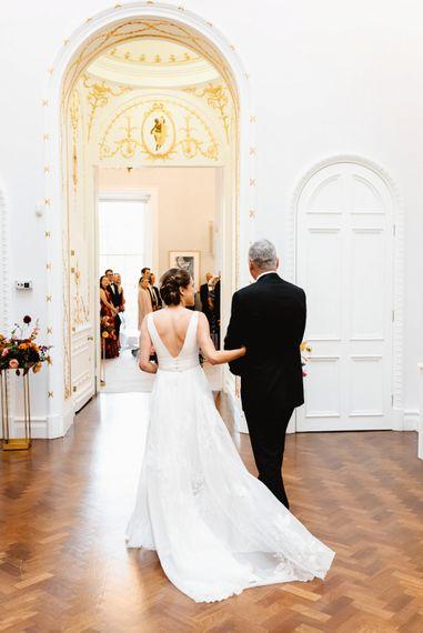 Carlton House Terrace wedding ceremony bridal entrance in Stephanie Allin wedding dress