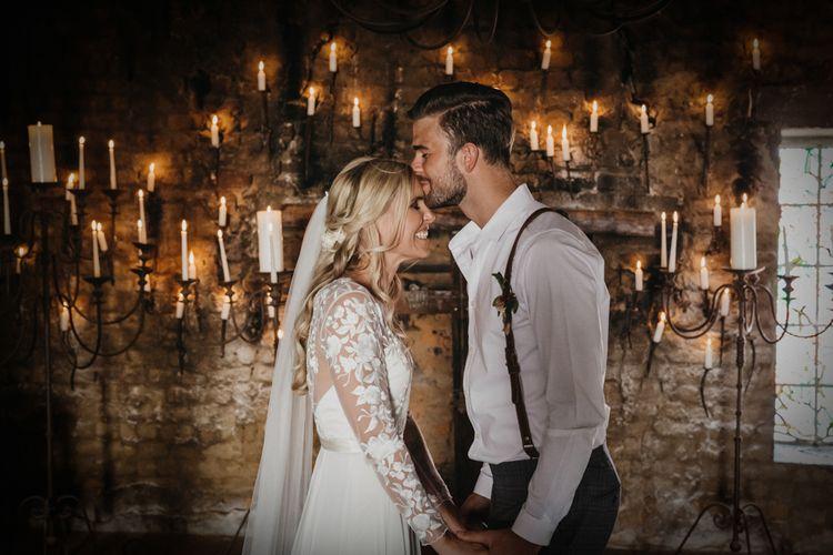 Beautiful bride kisses groom