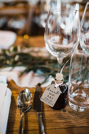 Homemade alcohol wedding favour