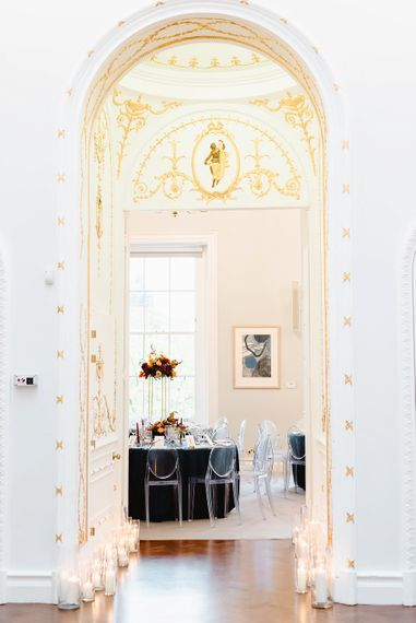 Reception room at Carlton House Terrace black-tie wedding