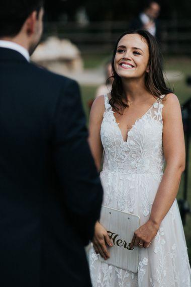 Bride in Madi Lane lace wedding dress