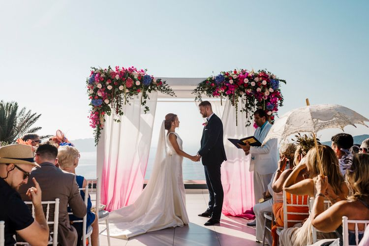 Destination wedding ceremony in Santorini