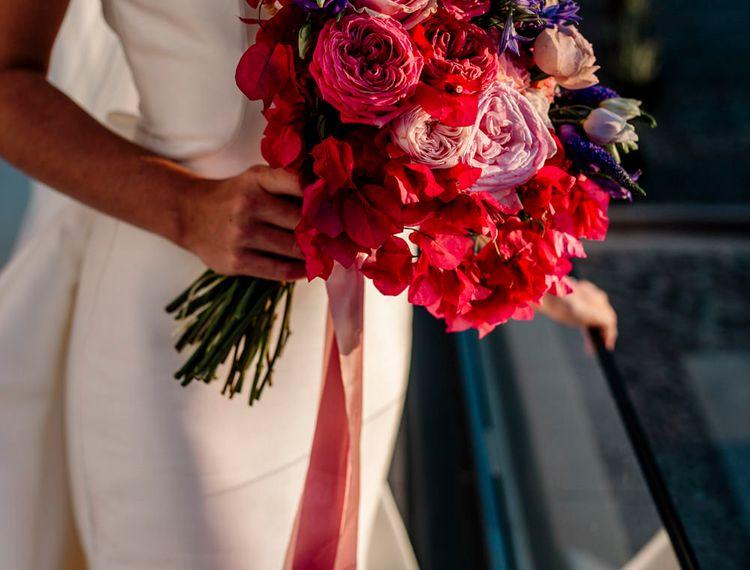 粉红新娘婚纱的婚礼