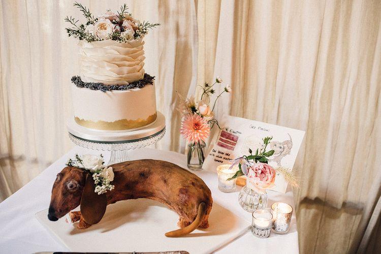 Cake table with sausage dog design