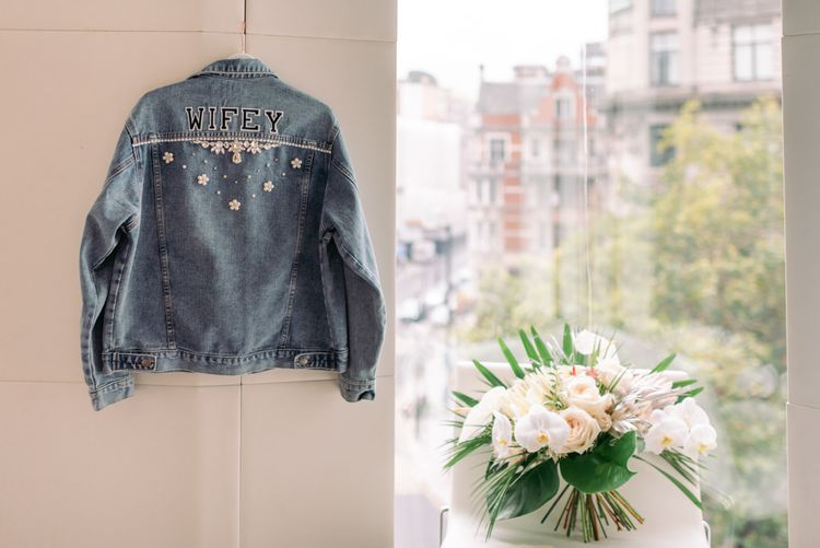 Personalised Denim Jacket for The Old Marylebone Town Hall Wedding