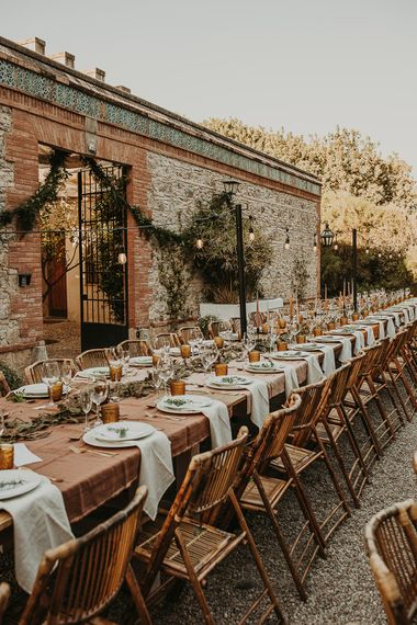 Outdoor wedding reception tablescape planned by Open The Door Events