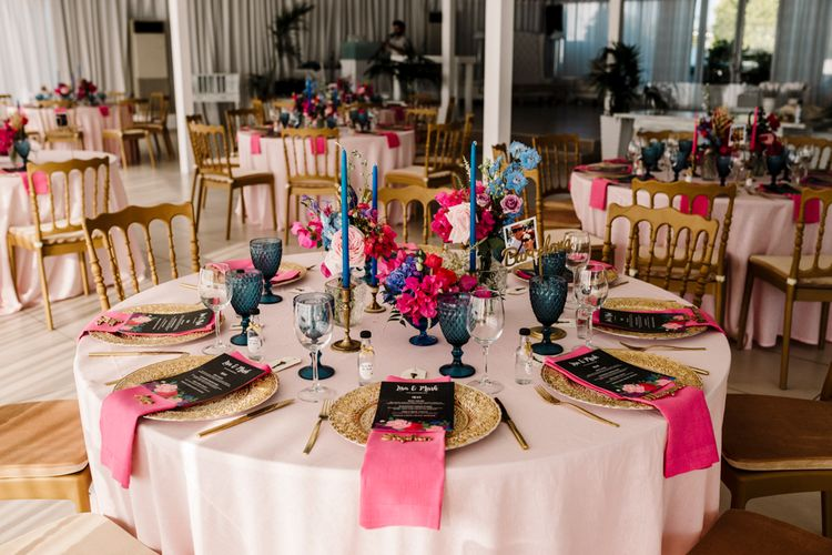 Brightly coloured table decor at Santorini wedding