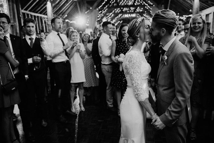 black and white image of the bride and groom on the dance floor at The Long Barn wedding venue in Hampshire