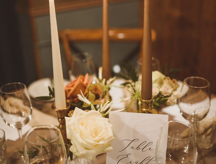 Brown and neutral wedding tablescape