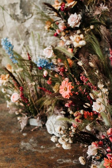 colourful wedding flower arrangements by Design by Nature