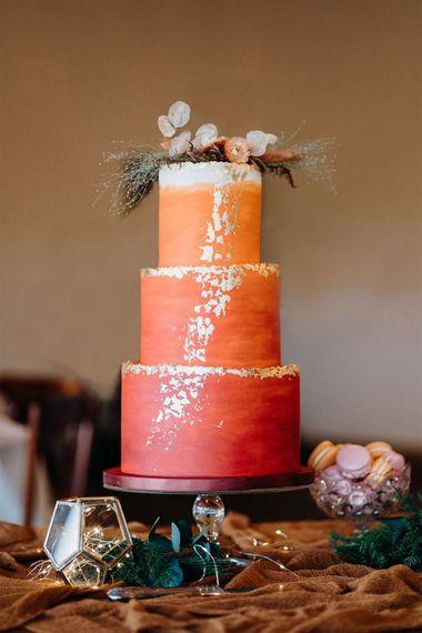cathlenes cakes orange and burgundy ombre
