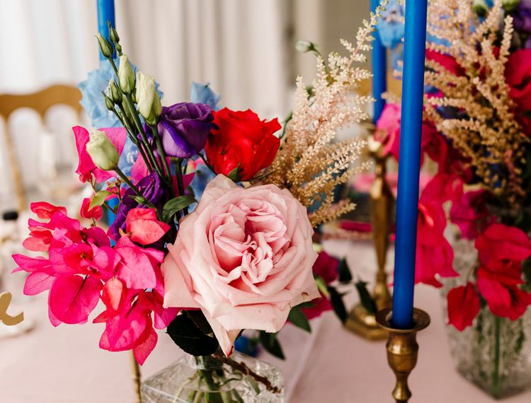 粉红蜡烛和粉色的雪铃们