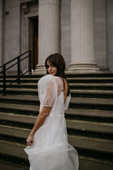 sheer puff sleeved wedding dress for elopement wedding