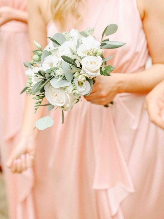 Blush Pink Bridesmaid & White Bouquet