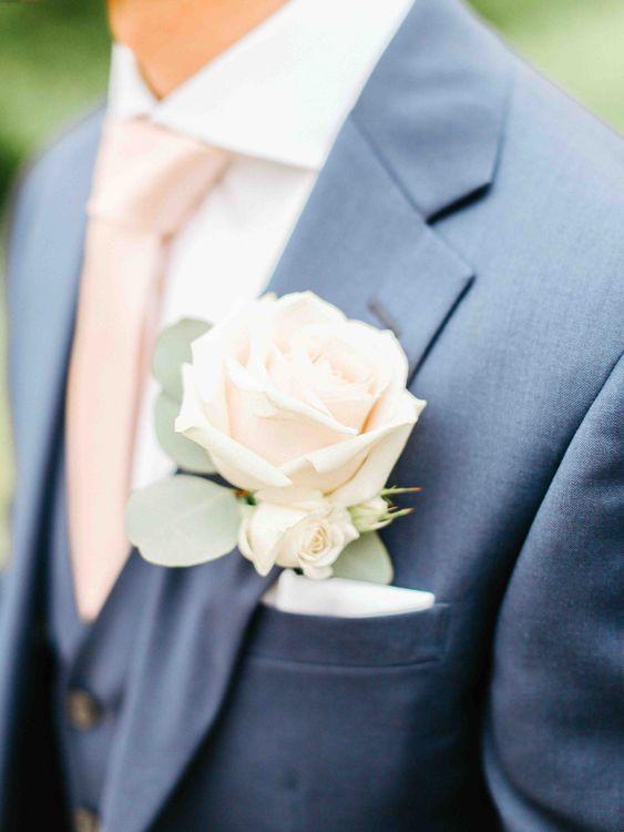 Blush Pink Rose Buttonhole