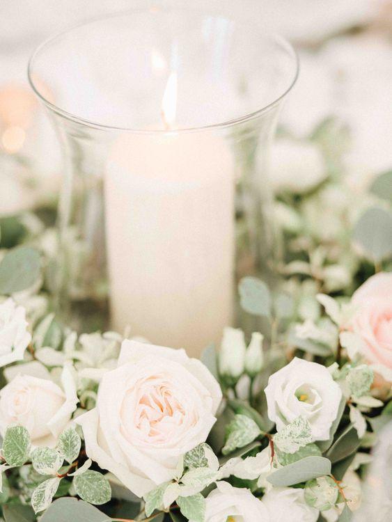 Hurricane Vase & church Candle Centrepiece