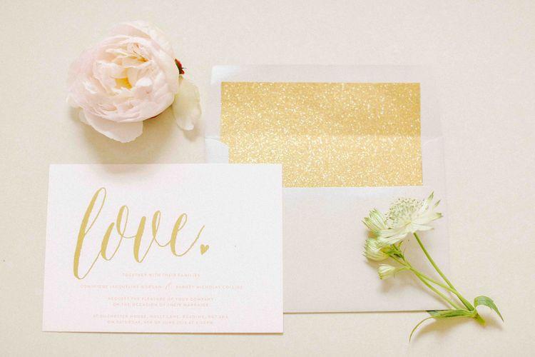 Gold, White & Blush Wedding Stationery