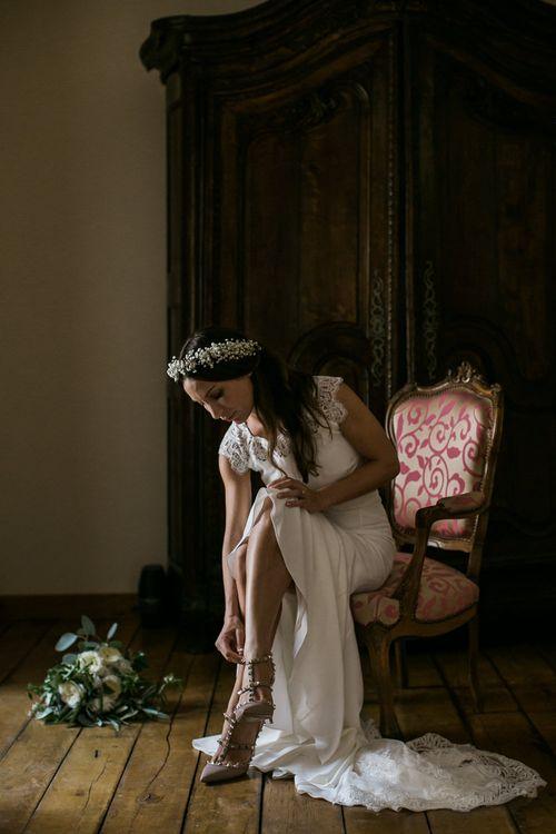 Bride in Lace Rime Arodaky Bridal Separates & Valentino Rockstud Shoes