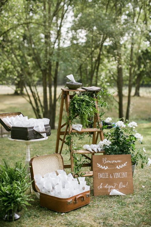 Rustic Decor & Green & White Flowers