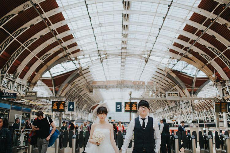 Paddington Station Bride & Groom Portrait