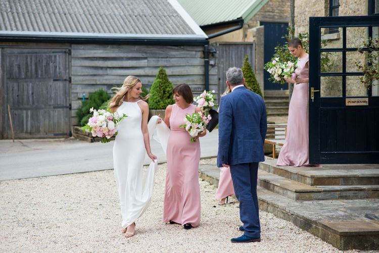 Bridesmaids in Pale Pink Dessy Dresses
