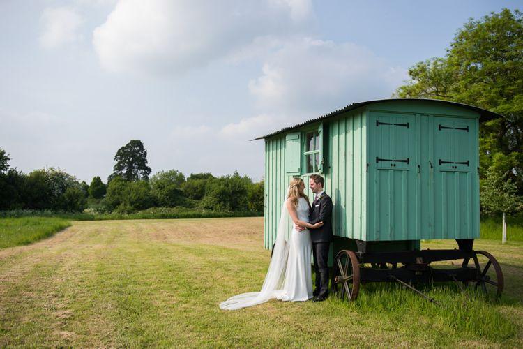 Bride & Groom Shepherds Hut Portrait