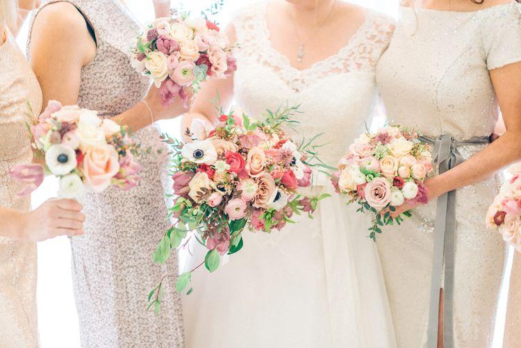 Gold Sequin Bridesmaid Dresses & Pink Bouquets