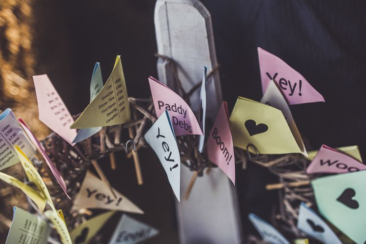 DIY Flags for wedding decor