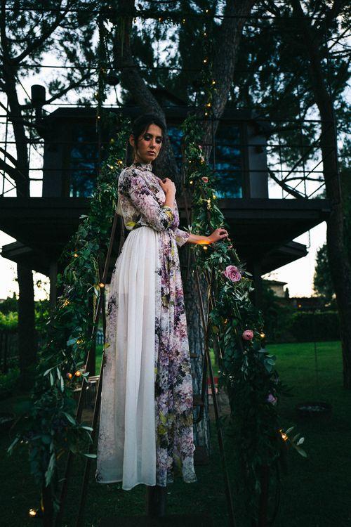 Floral Print Wedding Dress by Anna Fuca