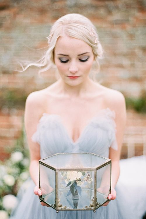 Antique Glass Box | Blue Tulle Wedding Dress | Dreamy Floral Fairytale Wedding Inspiration at Great Lodge in Essex | Kathryn Hopkins Fine Art Photography