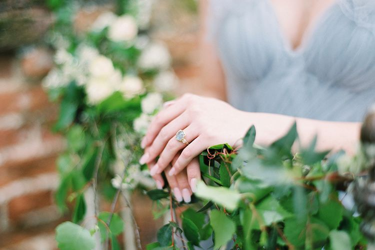 Antique Ring | Blue Tulle Wedding Dress | Dreamy Floral Fairytale Wedding Inspiration at Great Lodge in Essex | Kathryn Hopkins Fine Art Photography