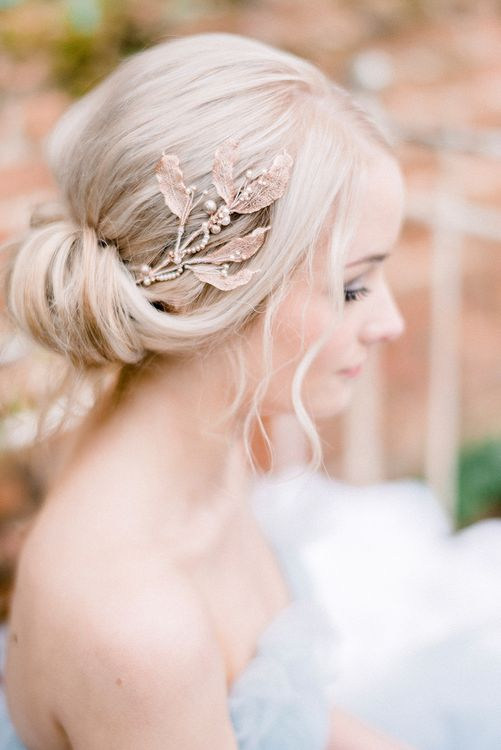 Chic Chignon Bridal Up Do & Hair Accessory | Dreamy Floral Fairytale Wedding Inspiration at Great Lodge in Essex | Kathryn Hopkins Fine Art Photography