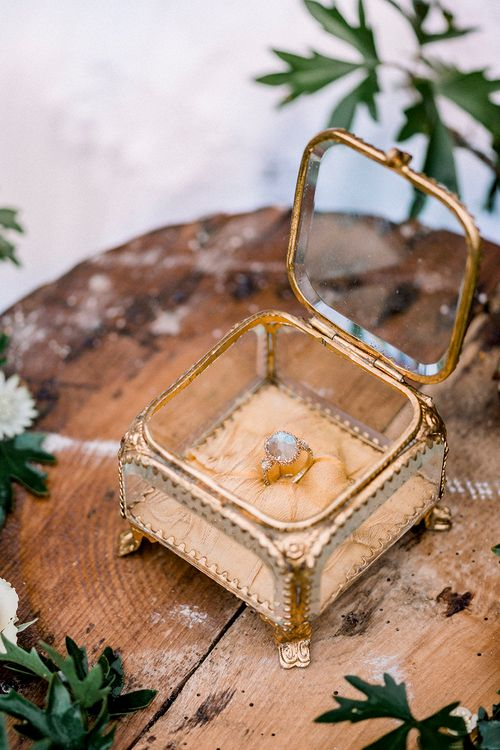 Ring Box | Romantic Florals by Fallen Flower Design | Dreamy Floral Fairytale Wedding Inspiration at Great Lodge in Essex | Kathryn Hopkins Fine Art Photography