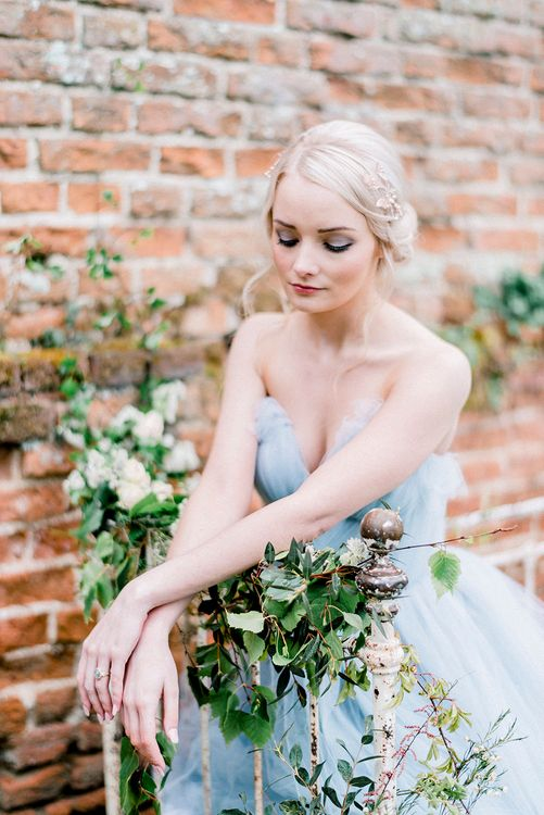 Blue Tulle Wedding Dress | Romantic Florals by Fallen Flower Design | Dreamy Floral Fairytale Wedding Inspiration at Great Lodge in Essex | Kathryn Hopkins Fine Art Photography