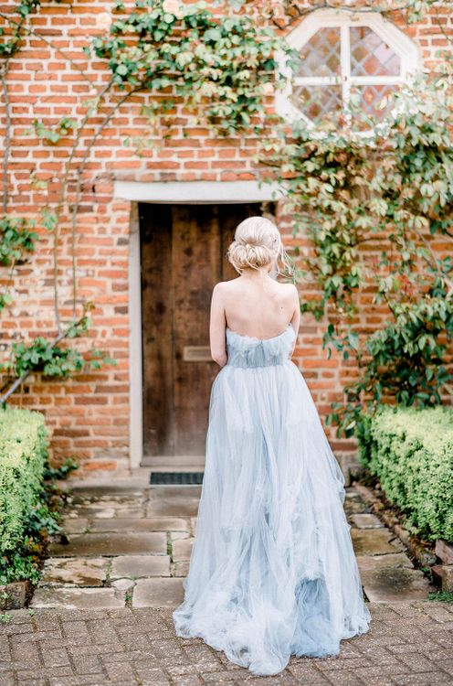Blue Tulle Wedding Dress | Dreamy Floral Fairytale Wedding Inspiration at Great Lodge in Essex | Kathryn Hopkins Fine Art Photography