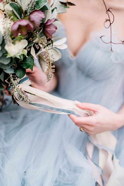 Romantic Wedding Bouquet with Ribbons by Fallen Flower Design | Dreamy Floral Fairytale Wedding Inspiration at Great Lodge in Essex | Kathryn Hopkins Fine Art Photography