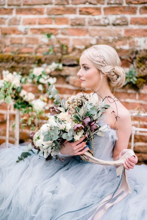 Blue Tulle Wedding Dress | Romantic Wedding Bouquet with Ribbons by Fallen Flower Design | Dreamy Floral Fairytale Wedding Inspiration at Great Lodge in Essex | Kathryn Hopkins Fine Art Photography