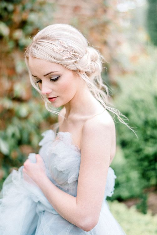 Blue Tulle Wedding Dress | Dreamy Bridal Inspiration at Great Lodge in Essex | Kathryn Hopkins Fine Art Photography