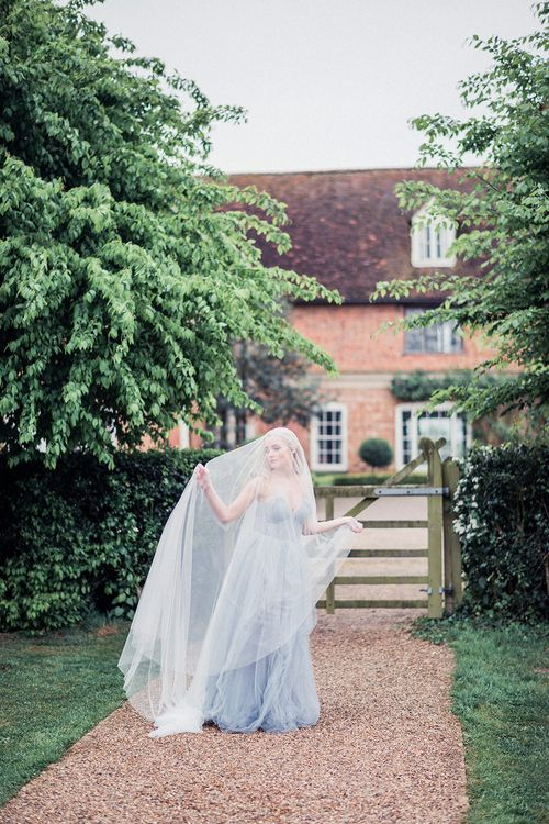Blue Tulle Wedding Dress & Veil | Dreamy Bridal Inspiration at Great Lodge in Essex | Kathryn Hopkins Fine Art Photography