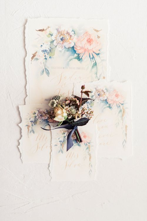 Illustration Wedding Stationery | Dreamy Bridal Inspiration at Great Lodge in Essex | Kathryn Hopkins Fine Art Photography