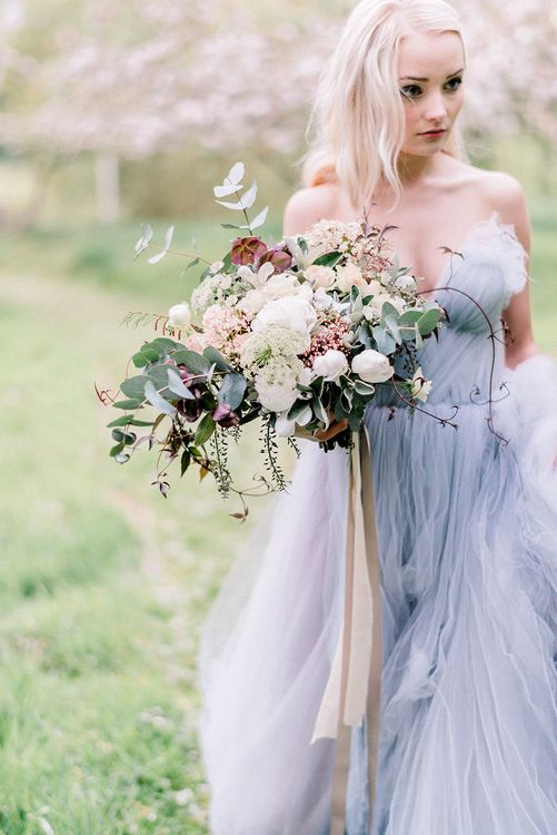 Blue Tulle Wedding Dress & Oversized Bridal Bouquet | Dreamy Bridal Inspiration at Great Lodge in Essex | Kathryn Hopkins Fine Art Photography