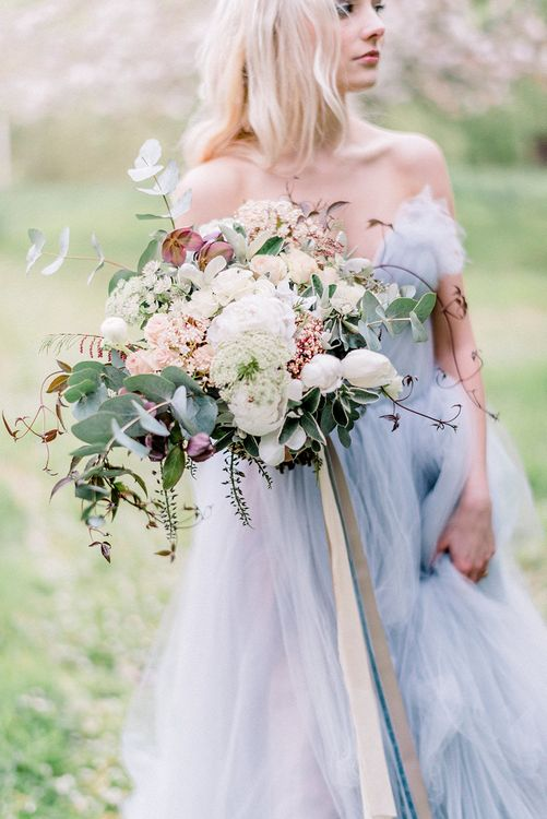 Blue Tulle Wedding Dress & Organic Bouquet with Ribbons | Dreamy Bridal Inspiration at Great Lodge in Essex | Kathryn Hopkins Fine Art Photography