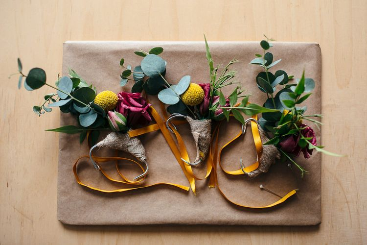 Yellow Buttonholes | Relaxed Industrial Wedding at Ocean Studios, Plymouth | Freckle Photography