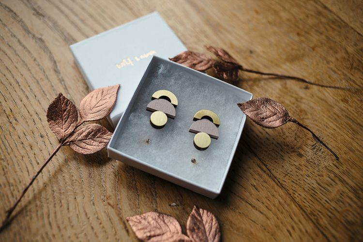 Wolf and Moon Geometric Earrings | Relaxed Industrial Wedding at Ocean Studios, Plymouth | Freckle Photography