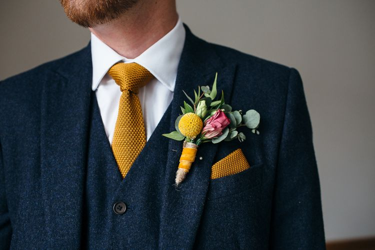 Yellow Buttonhole | Groom in Next Navy Wool Suit | Relaxed Industrial Wedding at Ocean Studios, Plymouth | Freckle Photography